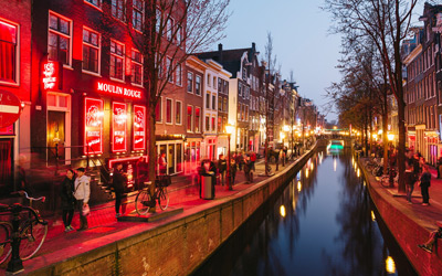 The infamous Red Light District in Amsterdam Holland